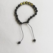 #SH14# 18 Bead - Shamballa Wrist Mala (Par) - Gul Turkos, Svart Lavasten