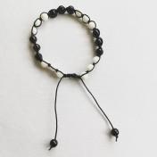 Malaarmband #SH07# 21 Bead - Shamballa Wrist Mala - Vit Jade, Onyx