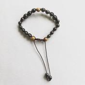 Malaarmband #SH16# 21 Bead - Shamballa Wrist Mala - Hematit, Sandelträ
