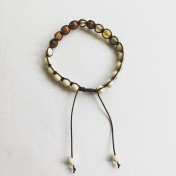 Malaarmband #SH11# 18 Bead - Shamballa Wrist Mala - Höstbrun Agat, Magnesit