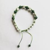 Malaarmband #SH20# 21 Bead - Shamballa Wrist Mala - Smaragdgrön Riverstone, Howlit