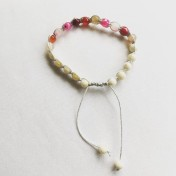 Malaarmband #SH19# 21 Bead - Shamballa Wrist Mala - Rosa Sardonyx, Cremevit Jade