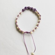 Malaarmband #SH23# 21 Bead - Shamballa Wrist Mala - Cremevit Jade, Ametistlila Jade