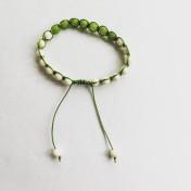 Malaarmband #SH13# 21 Bead - Shamballa Wrist Mala - Limegrön Jade, Cremevit Jade