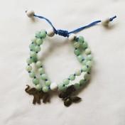 Malaarmband #W121# Dubbel Bead Buddhist/Yoga Wrist Mala med charms - Cyan Jade