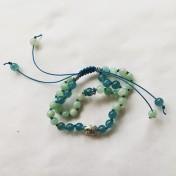 Malaarmband #W122# 21 Bead Dubbel Row Wrist Mala - Cyan Jade, Medelhavsblå Jade