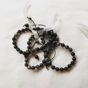 Malaarmband #W126# 21 Bead Mantra Stack/Yoga Bracelet Set Wrist Mala - Svart Onyx, Black Veined Jaspis