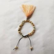 ZW131# 18 Bead Wrist Mala - Aprikos/Grågrön Jade