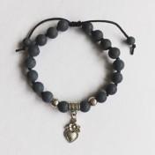 Malaarmband #W170# 18 Bead Wrist Mala - Black Stone