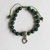 Malaarmband #W175# 18 Bead Wrist Mala - Smaragdgrön River Stone