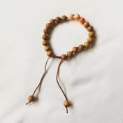 Malaarmband #W98# 21 Bead Wrist Mala - Malaträpärlor, Ljusorange/Vit Jade