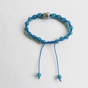 Malaarmband #SH27# 18 Bead - Shamballa Wrist Mala - Medelhavsblå Jade