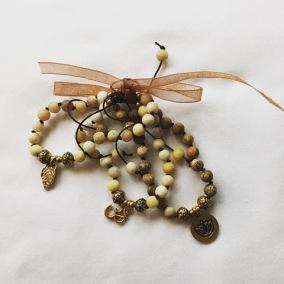 Malaarmband #W139# 18 Bead Stack/Yoga Bracelet Set - Bildjaspis, Solsten