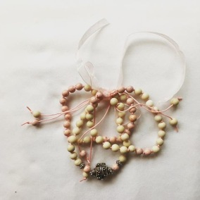 Malaarmband #W123# 21 Bead Stack/Yoga Bracelet Set Wrist Mala - Ljusrosa Fossil Jaspis, Magnesit