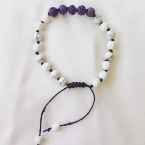 Malaarmband #W49# 21 Bead Wrist Mala - Howlit, Lila Lavasten