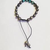 Malaarmband #SH24# 18 Bead - Shamballa Wrist Mala (Par) - Grå Jade, Turkos Impression Jaspis, Turkos Magnesit