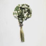 • 108 Bead Mala | Aventurin | Vit Jade | Grön Jaspis