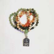 • 108+1 Bead Mala | Orange/Grön Mix