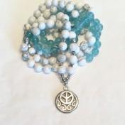 •108 Bead Mala |Medelhavsblå Jade|Howlit (N93)