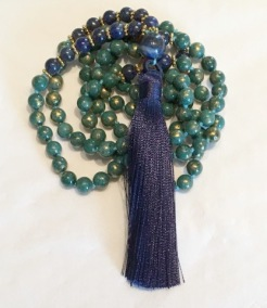 • 108+1 Bead Mala | Tealgrön Jade | Lapis Lazuli (N166)