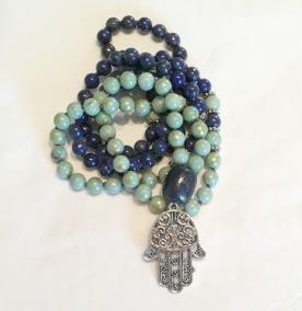 • 108+1 Bead Mala   Pistagegrön Jade   Lapis Lazuli (N168)