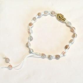 •18 Bead Wrist Mala |Shamballa |Aprikos/Grågrön Jade (SH26)