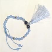 •18 Bead Wrist Mala  Ljusblå Jade (W132)