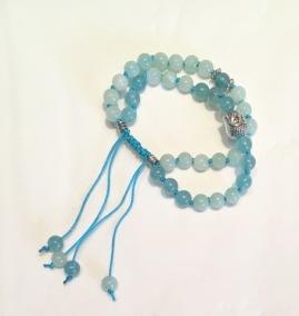 • Dubbel Wrist Mala | Medelhavsblå Jade | Cyan Jade (W122)