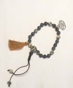 •21 Bead Wrist Mala |Dalmatinerjaspis|Black Stone (W149)