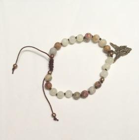 • 21 Bead Wrist Mala | Crazy Lace Agat| Ljusgul Jade (W191)