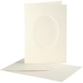 Passepartoutkort med kuvert (A6) Off-white, Oval 10 set