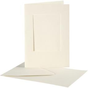Passepartoutkort med kuvert (A6) Off-white, Rektangel 10 set