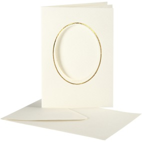 Passepartoutkort med kuvert (A6) Off-white, Oval med guldkant 10 set