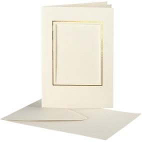 Passepartoutkort med kuvert (A6) Off-white, Rektangel med guldkant 10 set
