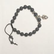 •18 Bead Wrist Mala |Black Stone (W170)