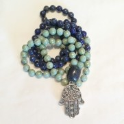 • 108+1 Bead Mala | Pistagegrön Jade | Lapis Lazuli (N168)