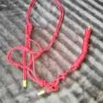 Röd repgrimma m grimskaft m neon detaljer HC