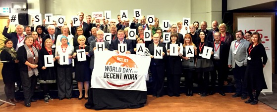 The NFS Conference takes a stand for Labour Rights in Lithuania on the World Day for Decent Work 7th of October 2016 in Tallinn.