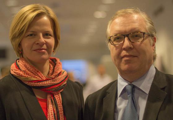 NFS generalsekreterare Loa Brynjulfsdottir och NFS nyvalde ordförande Sture Fjäder. Foto: NFS