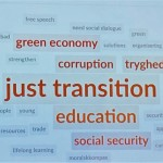 "Word cloud on ""Future of work, structural transitions and working environment"""