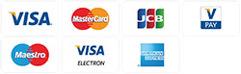 Vi tar kort som Mastercard, Visa, maestro, JCB, American express, Visa Electron.