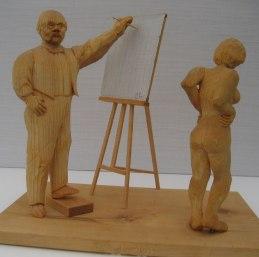 Konstnären Carl Larsson i arbete