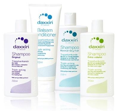 daxxin, shampoo, balsam, skæl, følsom hårbund, tør hovedbund, hårpleje,