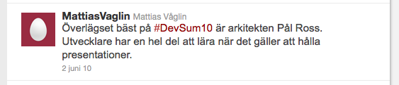 Kommentar på http://twitter.com/mattiasvaglin