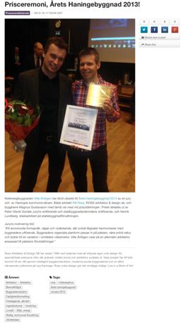 Årets Haningebyggnad 2013!