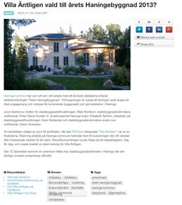 Nominerad till Åreets Haningebyggnad 2013!