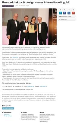 Guld i European Property Award 2013!