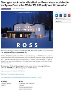 Sveriges vackraste villa 2009 visas i Tysk TV!