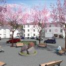 Design © Arkitekt Pål Ross - Lägenhetskomplex från torget