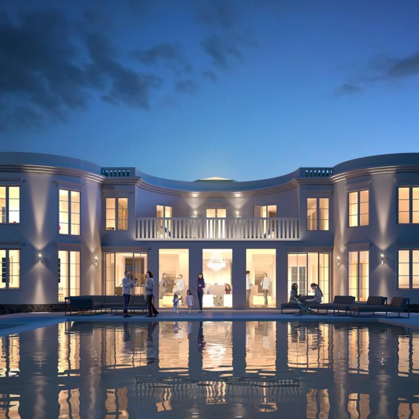 Design © Arkitekt Pål Ross Villa Casa Blanca Blue hour